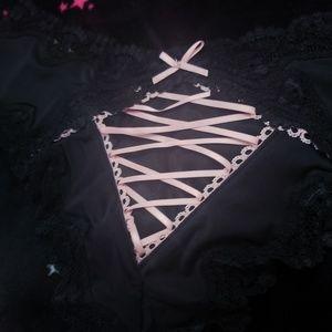Victoria's Secret Intimates & Sleepwear - Victoria's Secret Black Cheeky Pink Lace up NWT